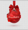 merry christmas tree decoration with red bow and vector image vector image