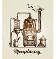 Moonshining Vintage hooch sketch vector image