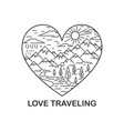 nature traveling in heart shape vector image vector image