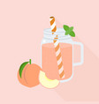 peach juice in mason jar glass vector image vector image