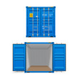 realistic set bright blue cargo containers vector image vector image