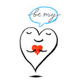red heart is holding a small heart funny greeting vector image