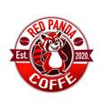 red panda coffee logo vector image vector image