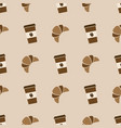 seamless pattern with coffee and croissant vector image