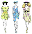 set fashion top models in summer dresses vector image vector image