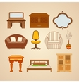 Set of ten of home furnishings vector image