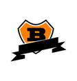 shield ribbon letter b vector image