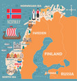 stylized map norway vector image vector image