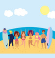 summer people activities with swimsuits and vector image