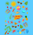summer time color elements set on a blue vector image vector image