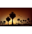 sunsets over savanna with palm trees vector image vector image