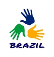 Three hand print icon - Brazil flag colors vector image vector image