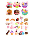 trendy sweets stickers icon set vector image