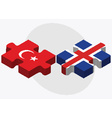 Turkey and Iceland Flags vector image vector image