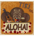 Vintage orange card with the image ukulele drums vector image