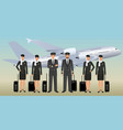 muslim pilots and stewardesses characters in vector image