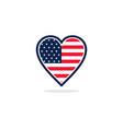 usa flag love logo vector image