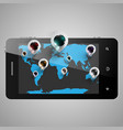 world map with 3d pins on a telephone vector image
