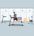 a young fit man runs on a treadmill in gym vector image