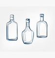 alcohol bottles one line art drink isolated sketch vector image