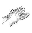 applause clapping hands engraving vector image