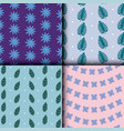 beautiful flowers and leafs set patterns vector image