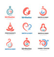 birth pregnancy family and baby care logos vector image