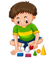 boy playing with shape blocks vector image