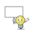 bring board light bulb character cartoon vector image vector image