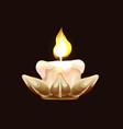 burning candle in a metallic holder side view vector image vector image