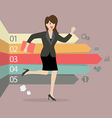 Business woman running with arrows infographic vector image vector image