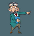 cartoon man in a suit and glasses points his vector image vector image