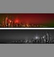 city skyline at night horizontal banner vector image vector image