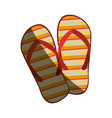 colorful silhouette of beach flip-flops with half vector image vector image