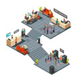 commercial bank office 3d isometric interior with vector image vector image