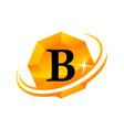 diamond swoosh initial b vector image