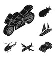 different types of transport black icons in set vector image