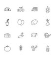 doodle farming icons set vector image vector image