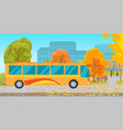 empty park with bus at urban background station vector image