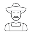 farmer thin line icon farming and agriculture vector image
