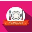 fork plate knife restaurant icon vector image