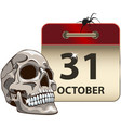 halloween calendar with skull vector image vector image