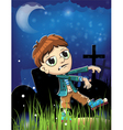 Halloween zombie on a cemetery vector image vector image