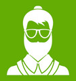 hipsster man icon green vector image vector image