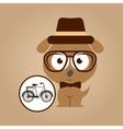 hipster dog symbol bicycle design vintage vector image