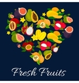 I love fresh fruits emblem in heart shape vector image vector image