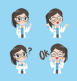 lady doctor variety gestures and actions vector image vector image