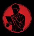 man using digital tablet cartoon graphic vector image vector image