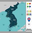 map of korean peninsula vector image vector image