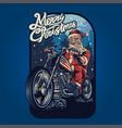 merry christmas santa claus bikers harley vector image